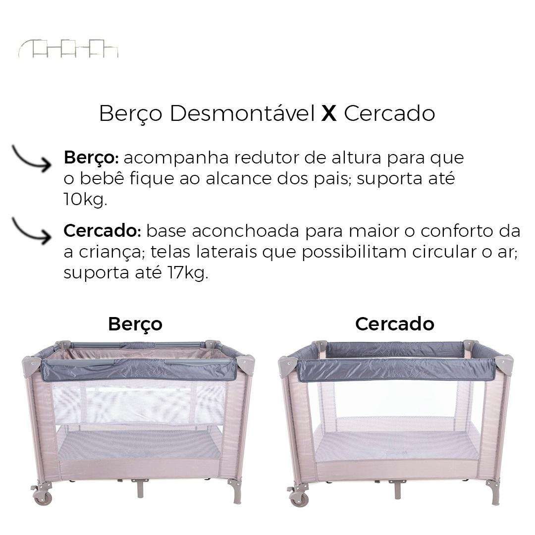 BERÇO DESMONTÁVEL PORTÁTIL TATA BEGE/CINZA - KIDDO