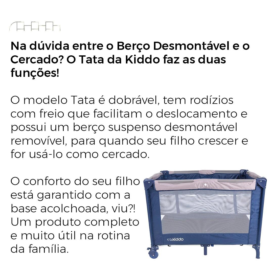 BERÇO DESMONTÁVEL PORTÁTIL TATA MARINHO/BEGE - KIDDO