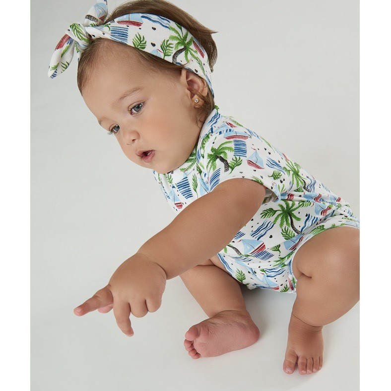 BODY FEMININO BRANCO ESTAMPA BARCOS - UP BABY