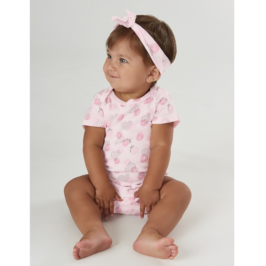 BODY FEMININO ROSA ESTAMPA CORAÇÕES - UP BABY ESSENTIALS