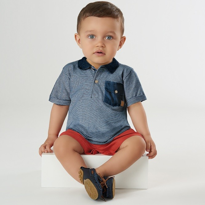 CAMISETA POLO EM COTTON CORES VARIADAS - UP BABY