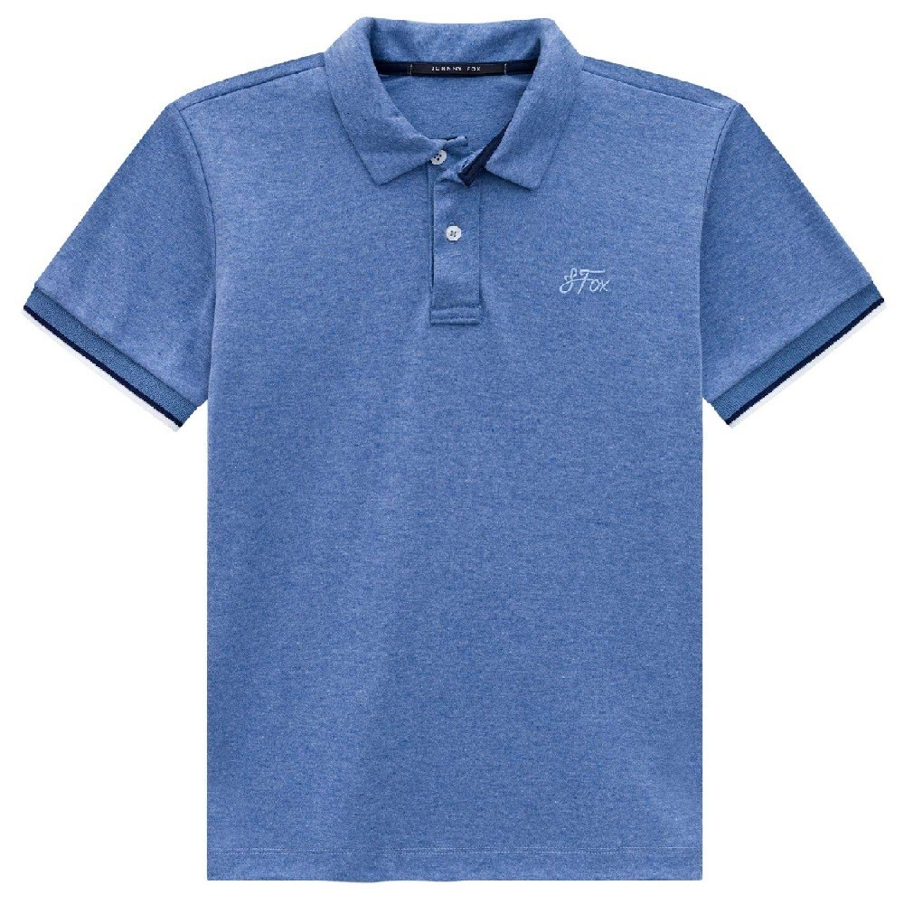 CAMISETA POLO MASCULINA AZUL MESCLA - JOHNNY FOX