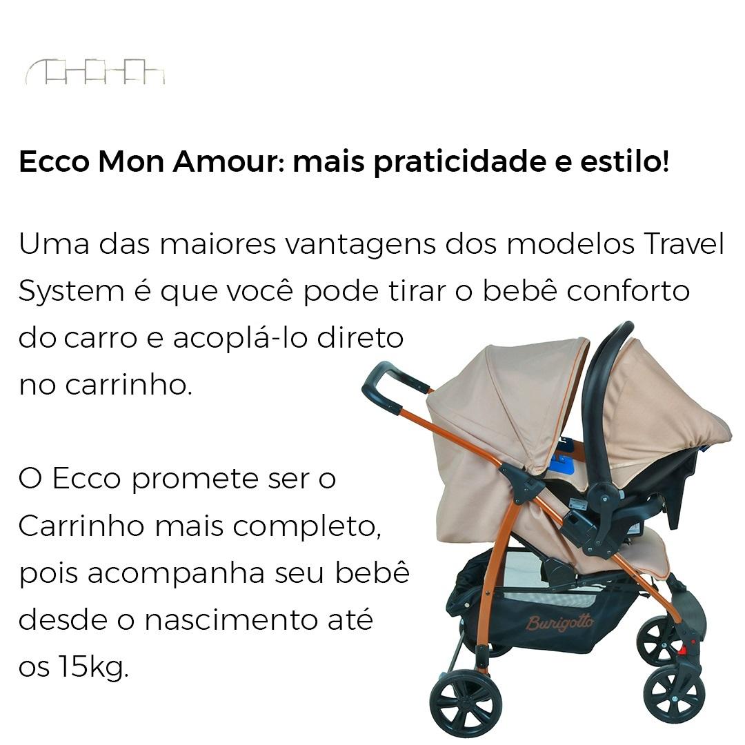 CARRINHO DE BEBÊ ECCO MON AMOUR + BEBÊ CONFORTO - BURIGOTTO