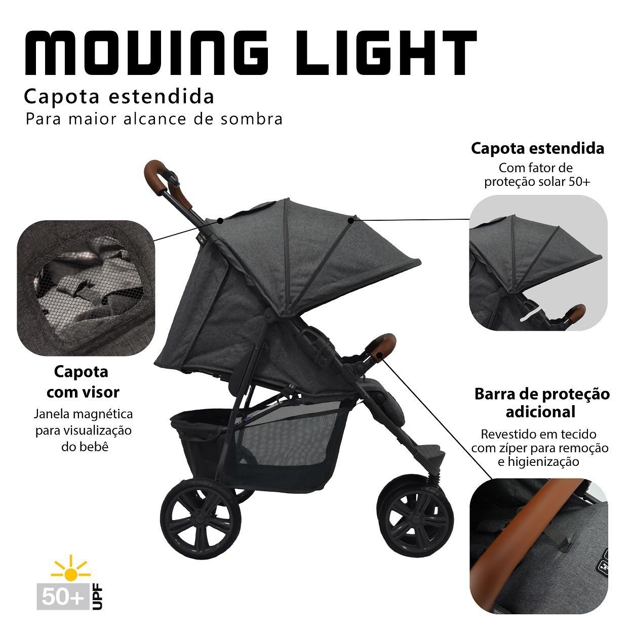 CARRINHO DE BEBÊ MOVING LIGHT WOVEN COM COURO - ABC DESIGN