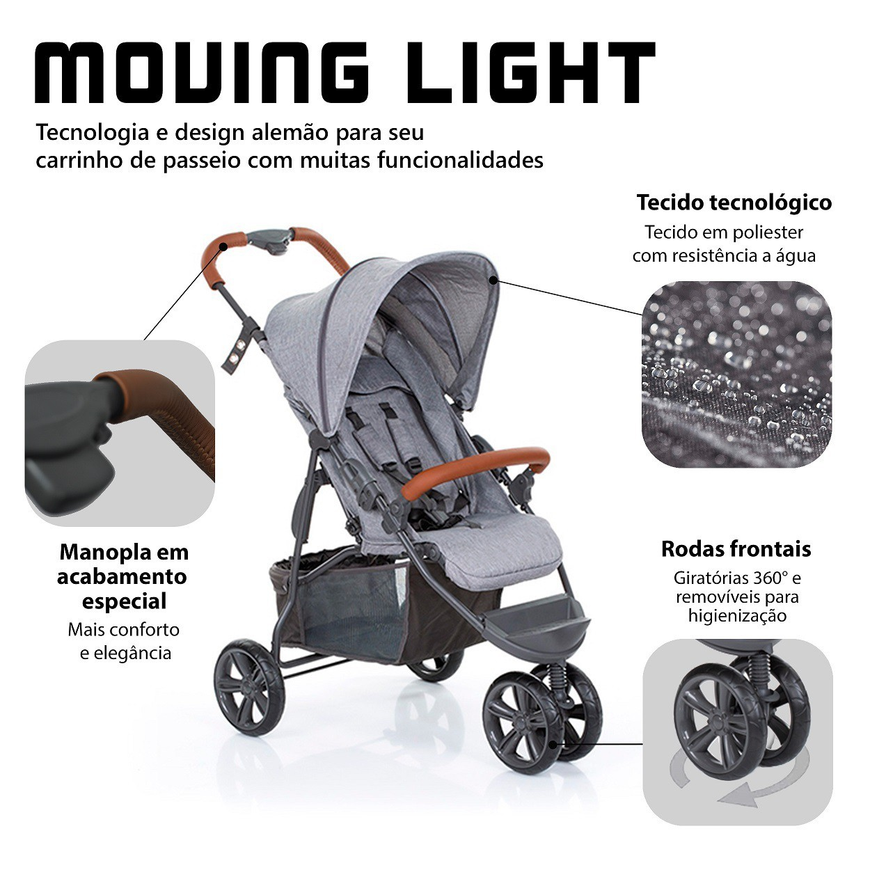 CARRINHO DE BEBÊ MOVING LIGHT WOVEN GREY COM COURO - ABC DESIGN