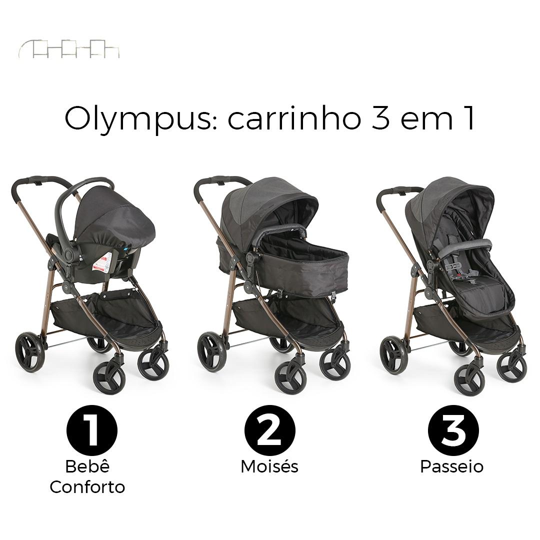 CARRINHO DE BEBÊ OLYMPUS BLACK + BEBÊ CONFORTO COCOON + BASE - GALZERANO