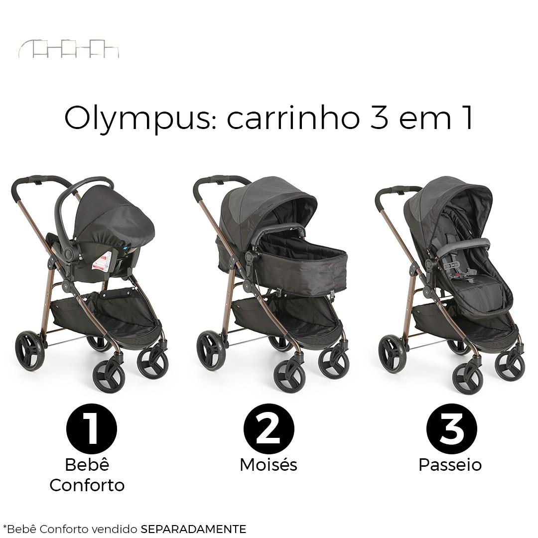 CARRINHO DE BEBÊ OLYMPUS BLACK - GALZERANO