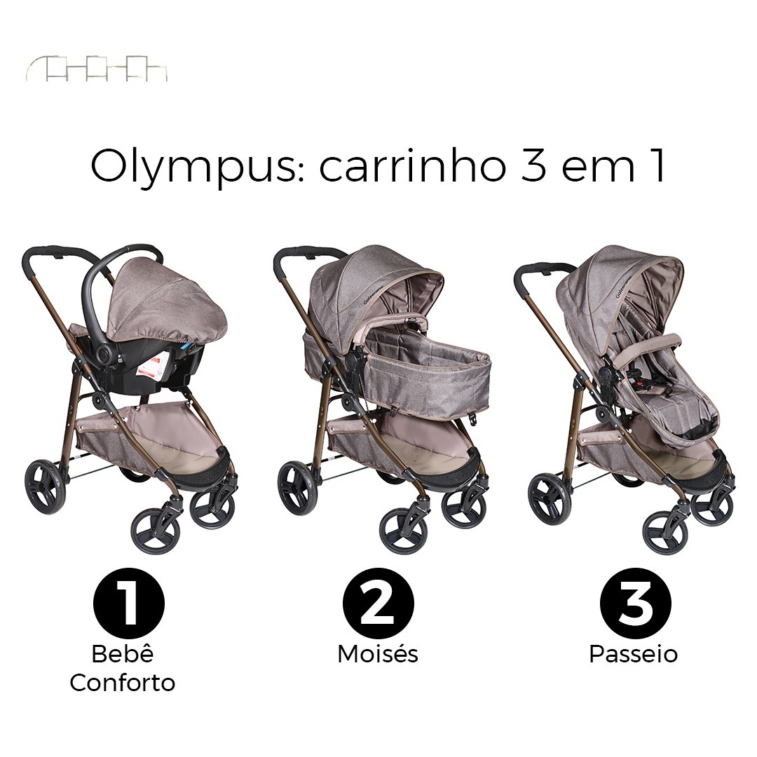 CARRINHO DE BEBÊ OLYMPUS CAPPUCCINO + BEBÊ CONFORTO COCOON CAPPUCCINO MESCLA + BASE - GALZERANO