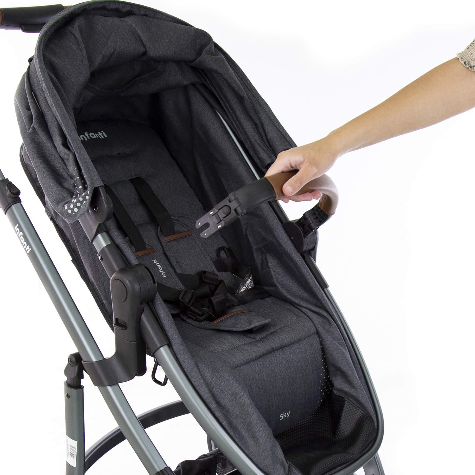 CARRINHO DE BEBÊ SKY GREY VINTAGE + BEBÊ CONFORTO NARNI + BASE VEICULAR - INFANTI