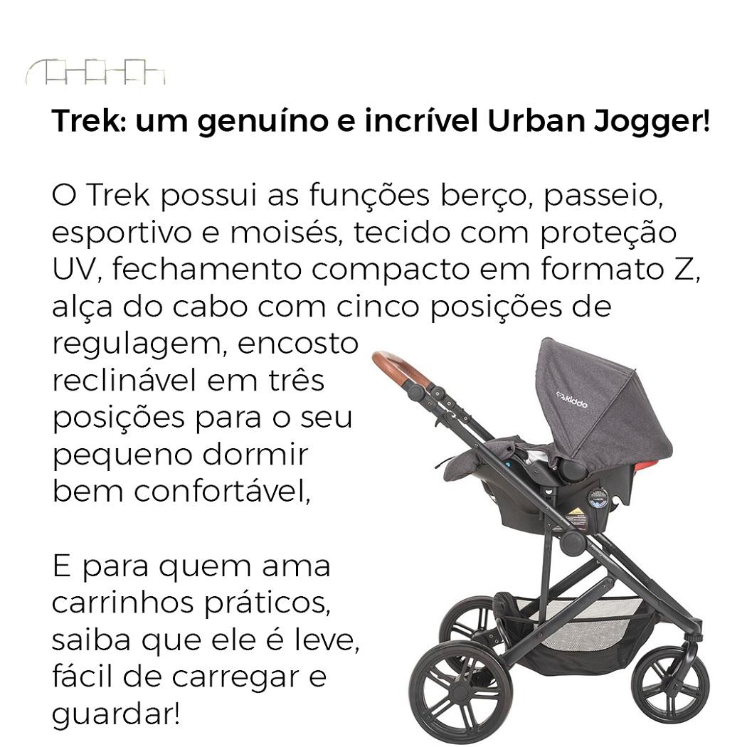 CARRINHO DE BEBÊ TREK + BEBÊ CONFORTO MELANGE GRAFITE - KIDDO