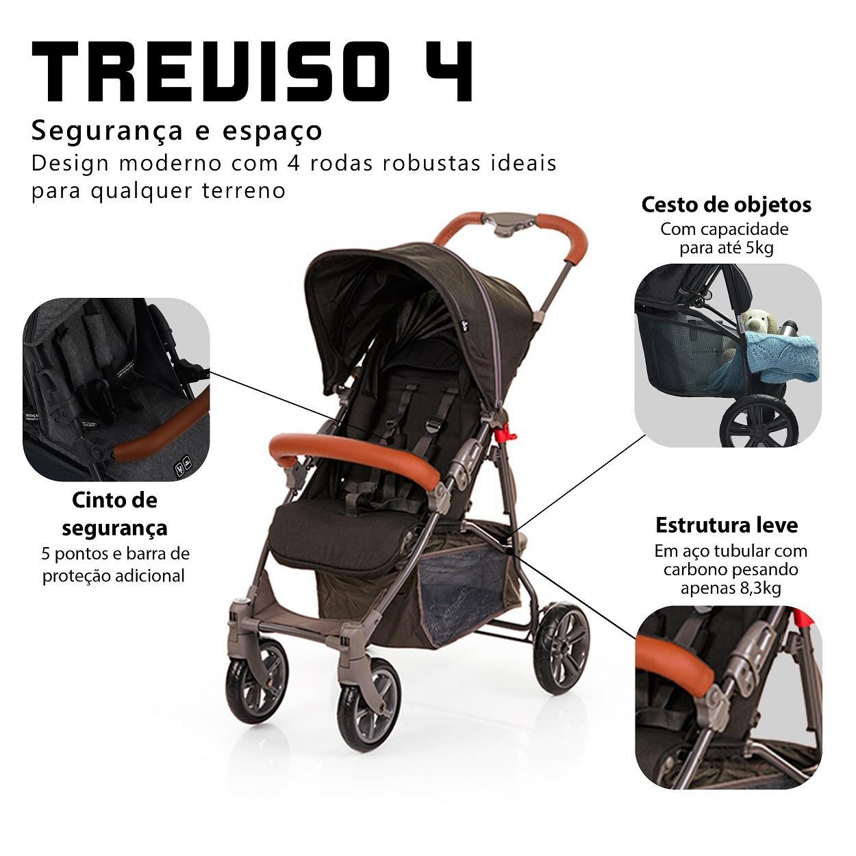CARRINHO DE BEBÊ TREVISO 4 WOVEN BLACK COM COURO - ABC DESIGN