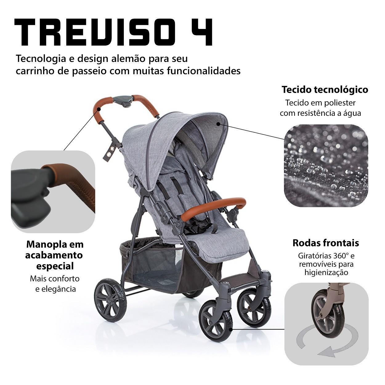 CARRINHO DE BEBÊ TREVISO 4 WOVEN GREY COM COURO - ABC DESIGN