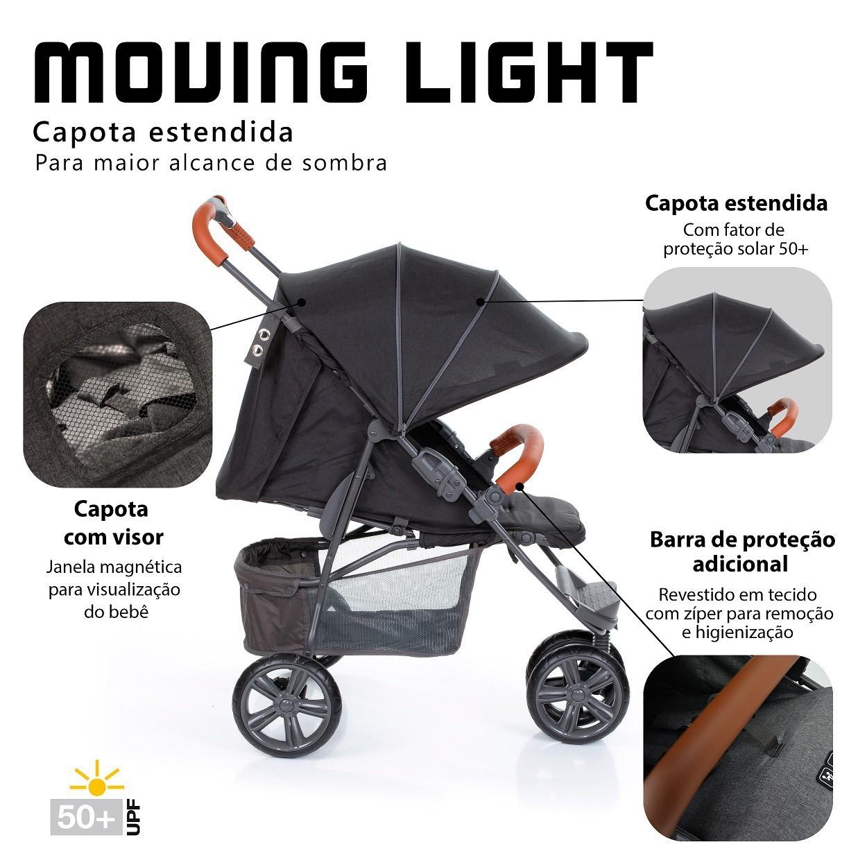 CARRINHO DE BEBÊ MOVING LIGHT WOVEN BLACK COM COURO - ABC DESIGN