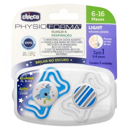 CHUPETA PHYSIO LIGHT BRILHA NO ESCURO C/2 UN AZUL COALA/BRANCA LISTRAS 6-16M - CHICCO