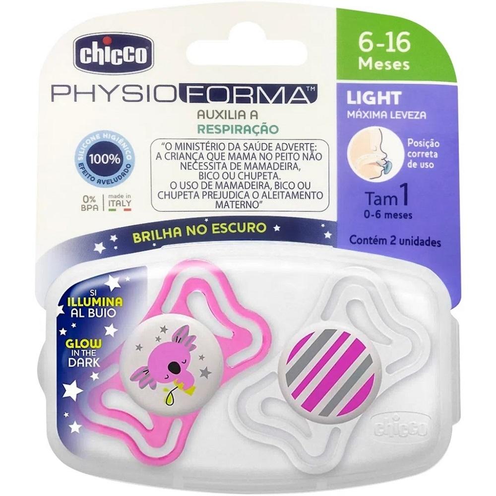 CHUPETA PHYSIO LIGHT BRILHA NO ESCURO C/2 UN ROSA COALA/BRANCA LISTRAS 6-16M - CHICCO