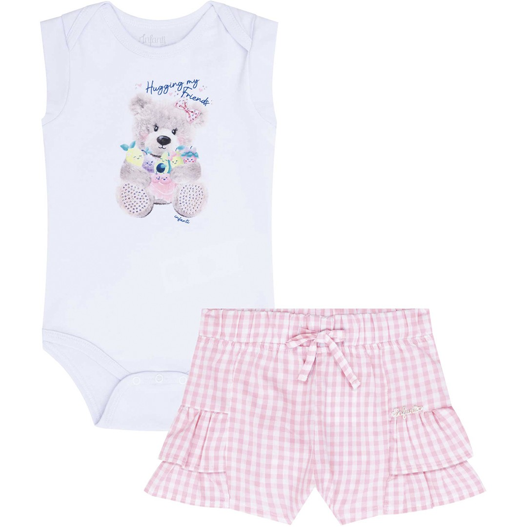 "CONJUNTO BODY E SHORT BRANCO/ROSA ""HUGGING MY FRIENDS"" - INFANTI"