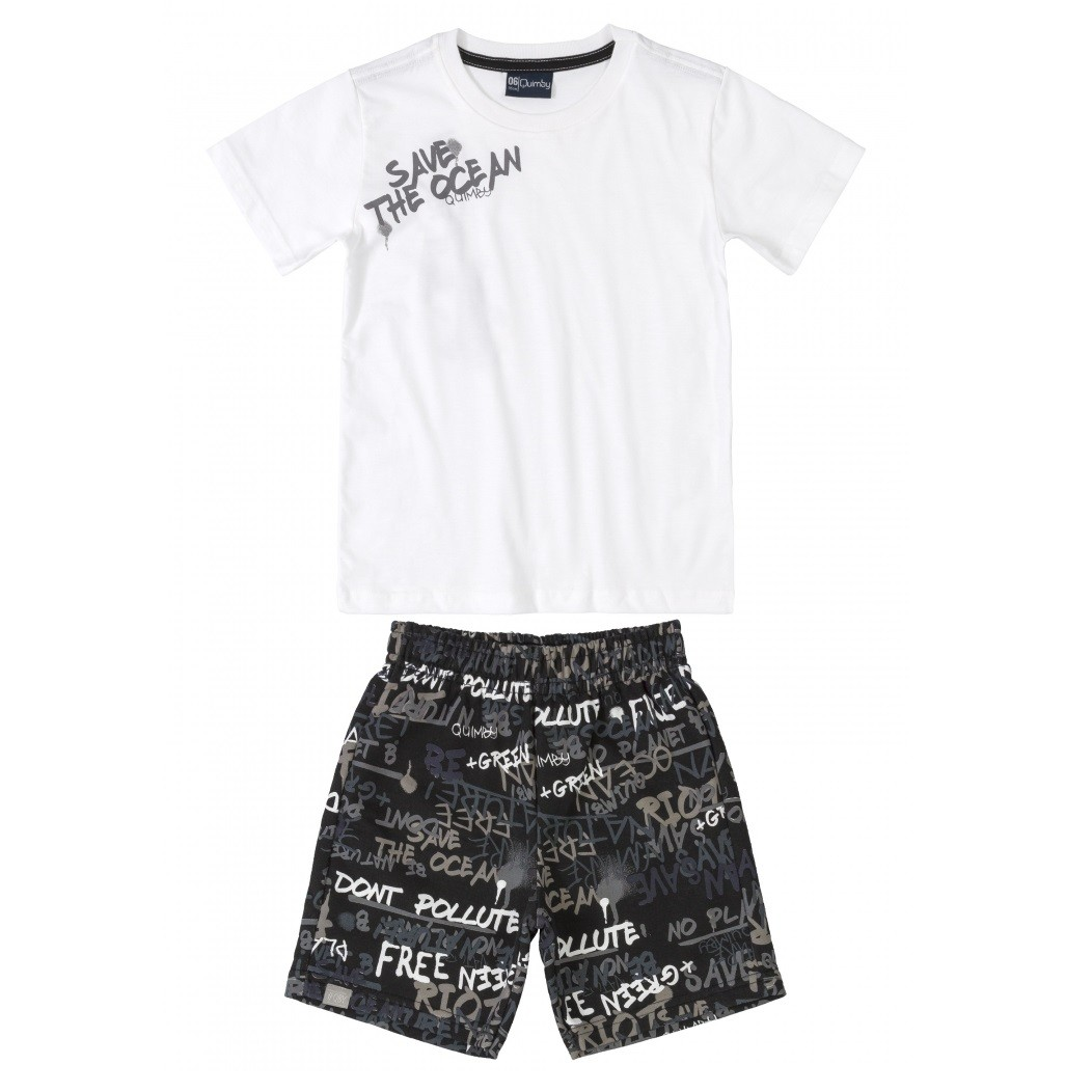 CONJUNTO MASCULINO CAMISETA BRANCA 'SAVE THE OCEAN' + BERMUDA ESTAMPADA