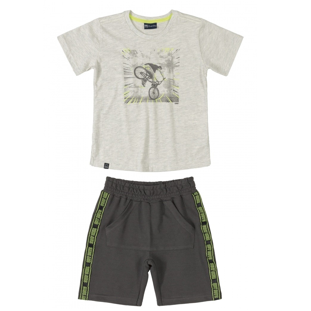 CONJUNTO MASCULINO CAMISETA MESCLA ESTAMPA BIKE + BERMUDA GRAFITE 'STAY CHILL'