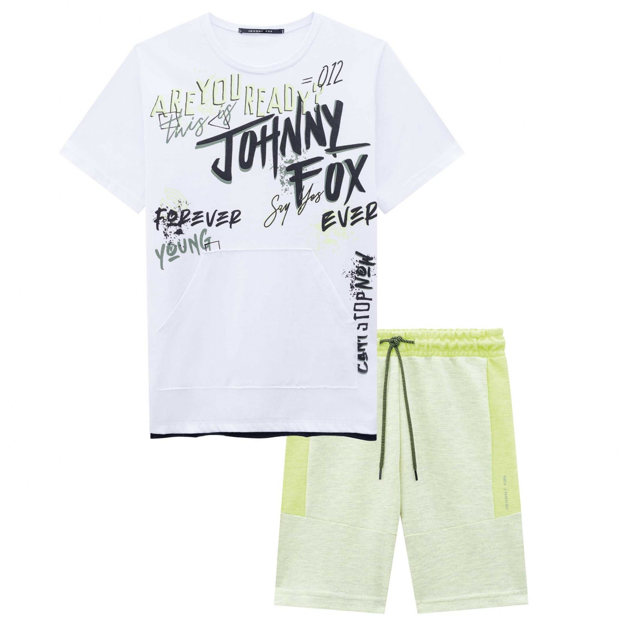 CONJUNTO MASCULINO MALHA CAMISETA BRANCA 'ARE YOU READY?' + BERMUDA AMARELA MESCLA - JOHNNY FOX