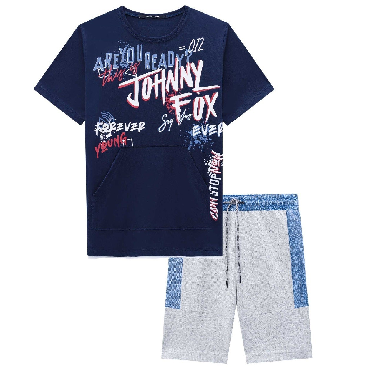 CONJUNTO MASCULINO MALHA CAMISETA MARINHO 'ARE YOU READY?' + BERMUDA CINZA MESCLA - JOHNNY FOX