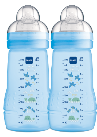 MAMADEIRA EASY ACTIVE DUPLA AZUL 270ML - MAM