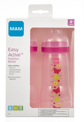 MAMADEIRA EASY ACTIVE DUPLA ROSA 330ML - MAM