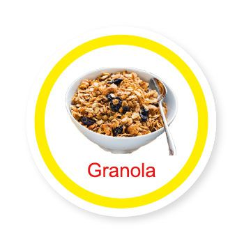 Ficha metálica de alimentos Granola   - Divertimente