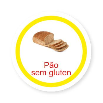 Ficha metálica de alimentos Pão sem Glúten  - Divertimente