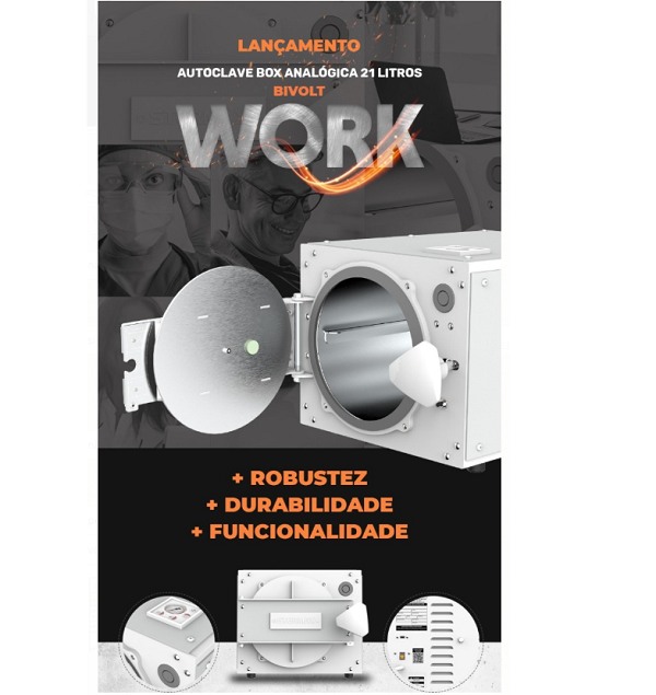 Autoclave Horizontal Analógica Stermax WORK  - 21 Litros  (Ref. 7044)
