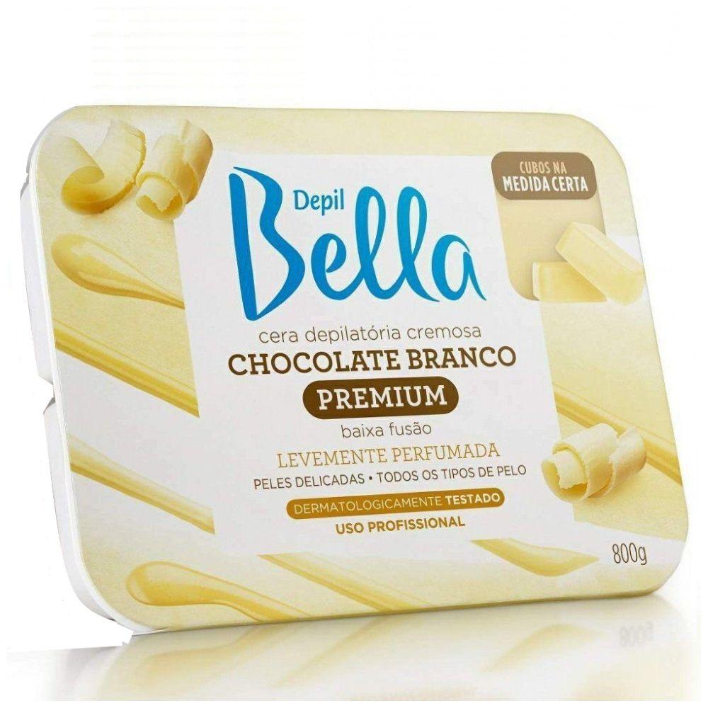 Cera Depilatória Quente Depil Bella Chocolate Branco 800g