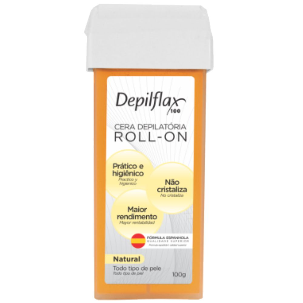 Cera Depilatória Roll-On DepilFlax 100g Natural