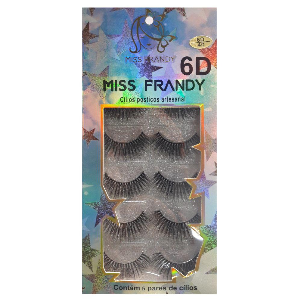 Cílios Postiços 6D Miss Frandy 40 com 5 pares