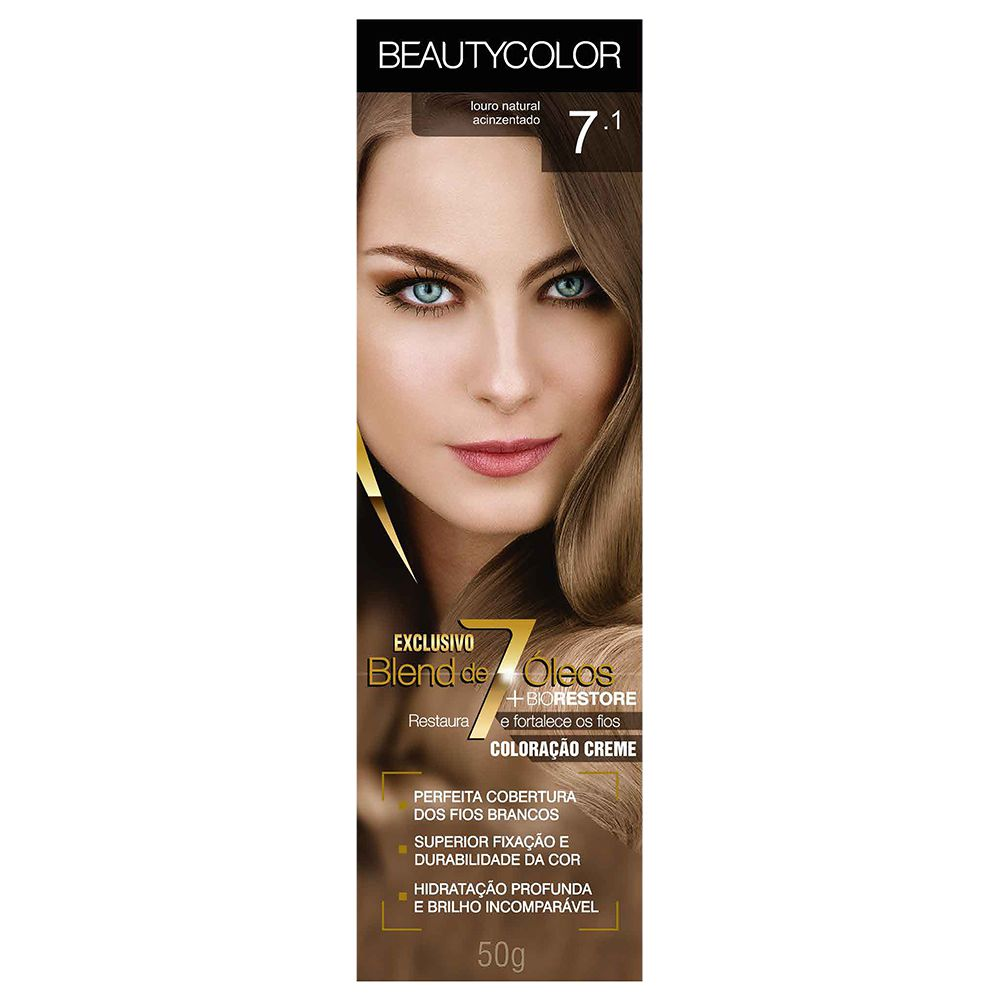 Coloração Beauty Color 7.1 Louro Natural Acinzentado