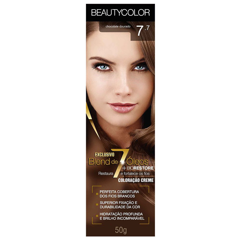 Coloração Beauty Color 7.7 Chocolate Dourado  - Sofí Cosméticos