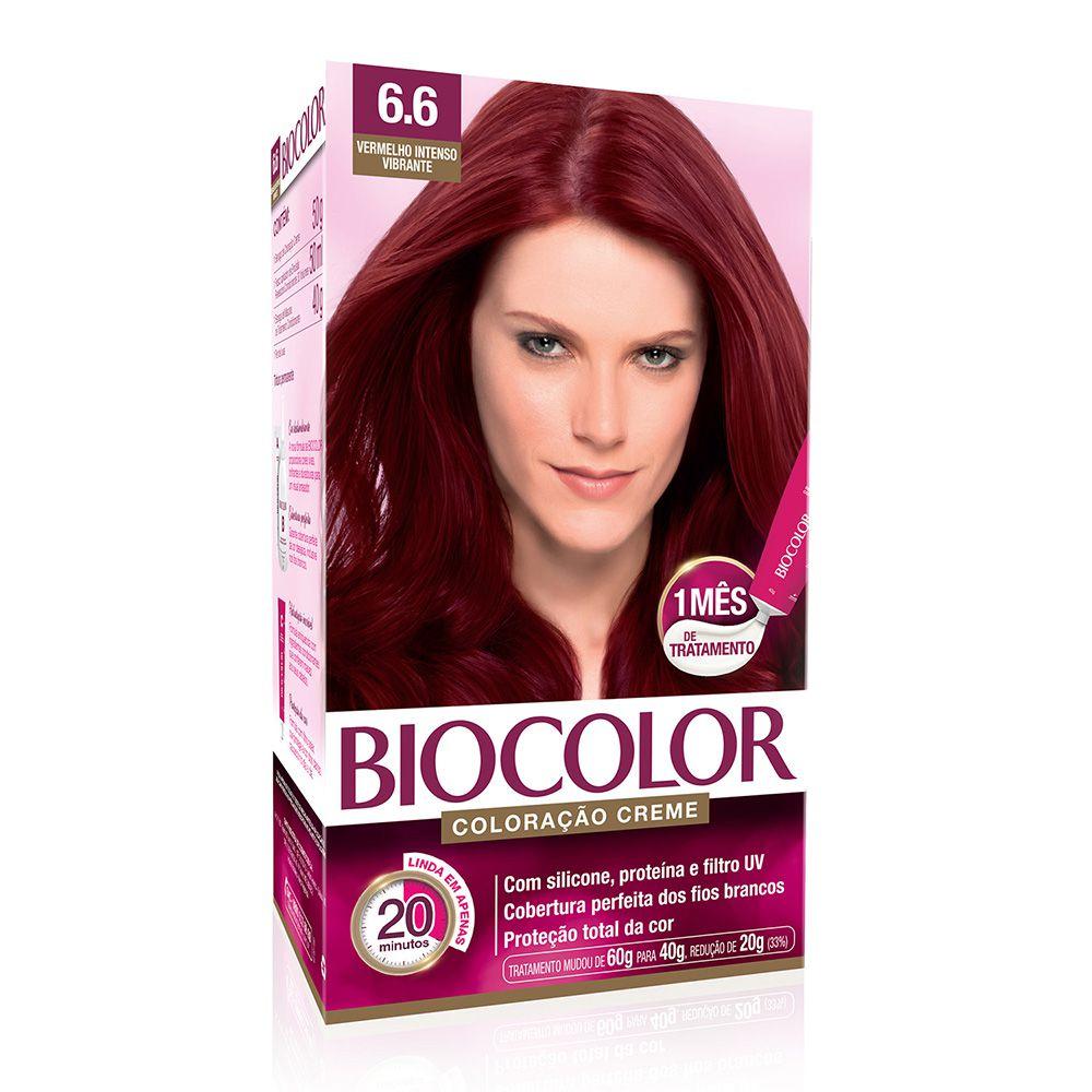 Coloração Biocolor 6.6 Vermelho Intenso Vibrante