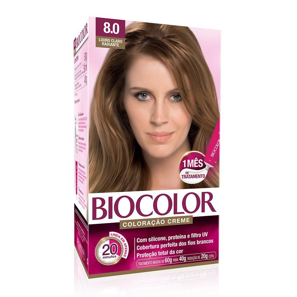 Coloração Biocolor 8.0 Louro Claro Radiante  - Sofí Cosméticos