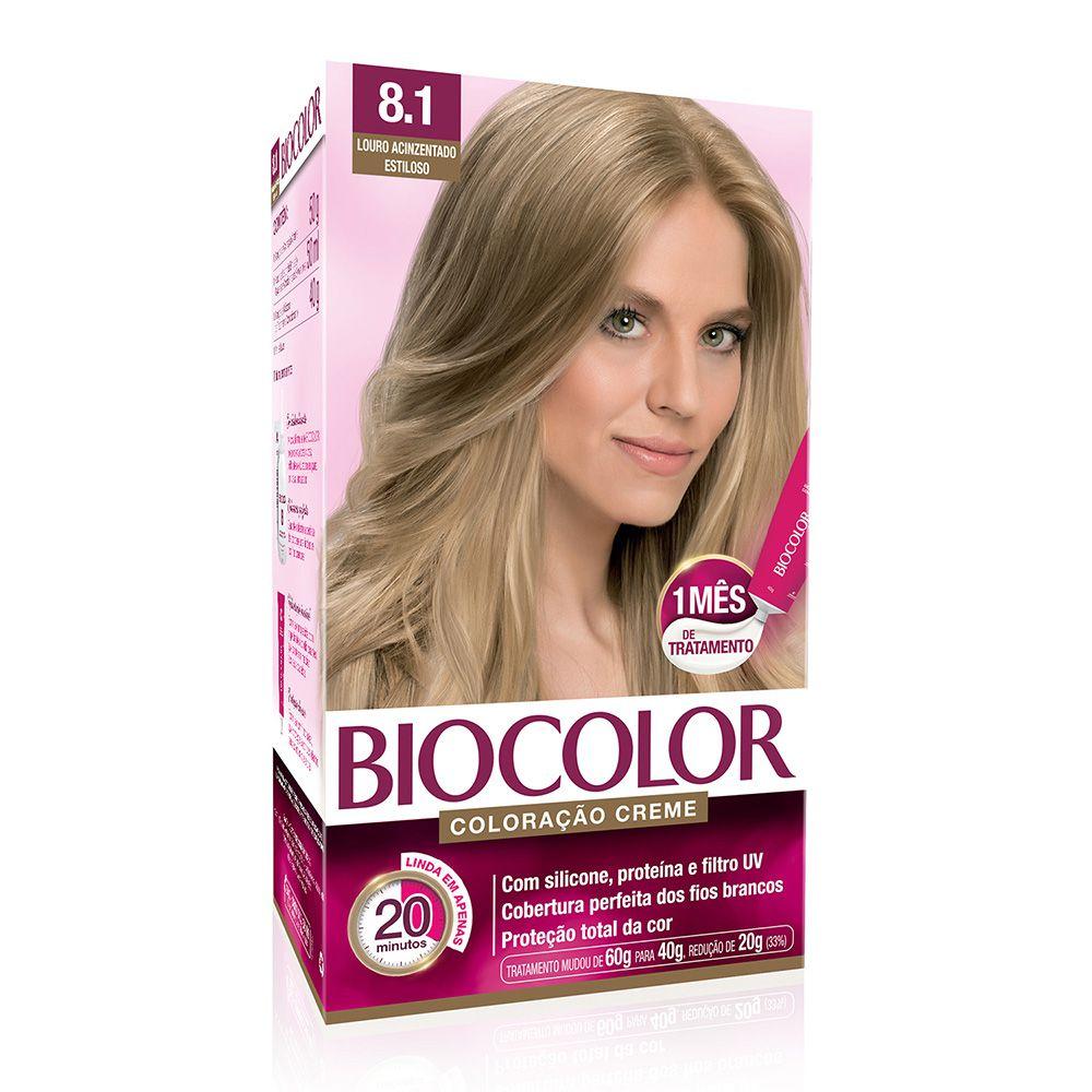 Coloração Biocolor 8.1 Louro Acinzentado Estiloso  - Sofí Cosméticos