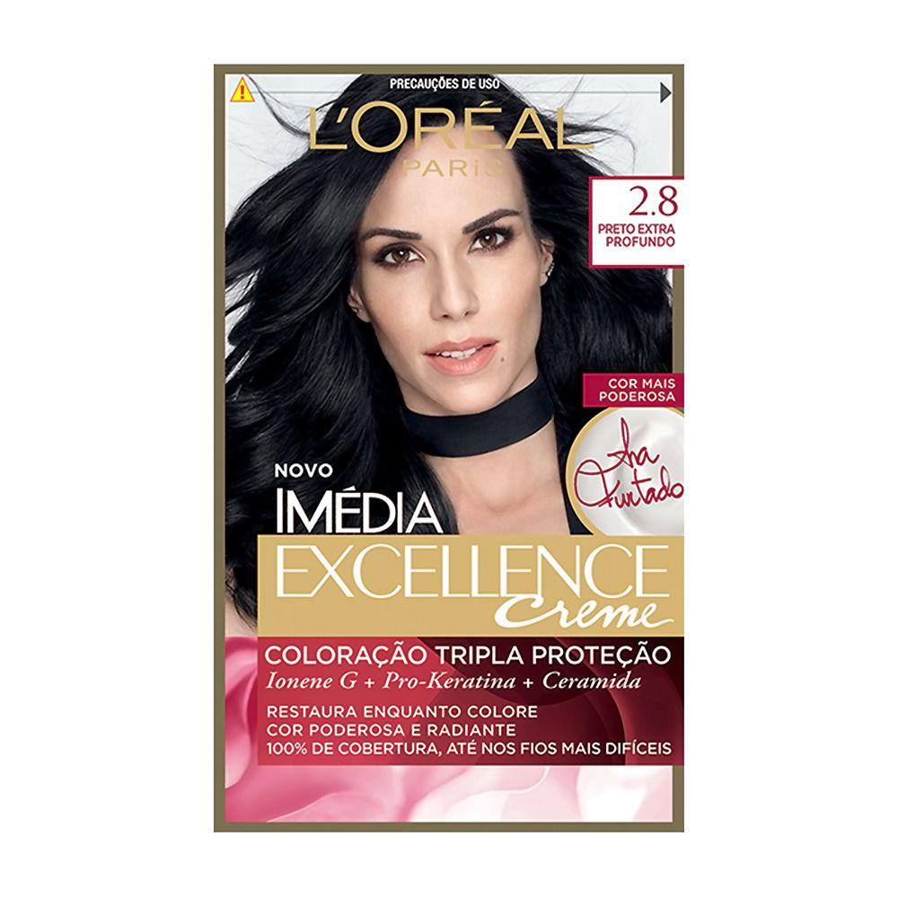 Coloração Imedia Excellence Creme loreal 2.8 Preto Extra Profundo