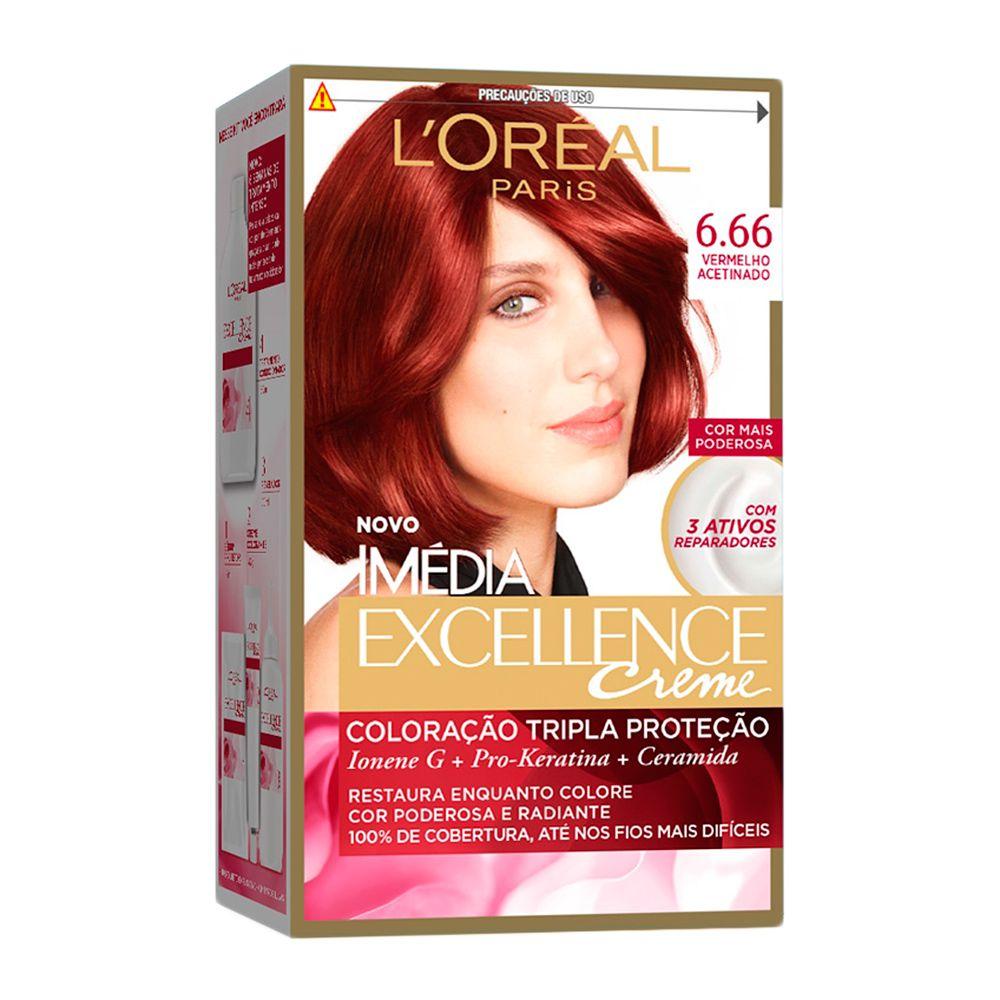 Coloração Imedia Excellence Creme loreal 666 Vermelho Acetinado
