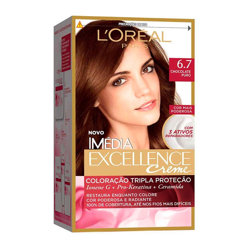 Coloração Imedia Excellence Creme loreal 6.7 Chocolate Puro