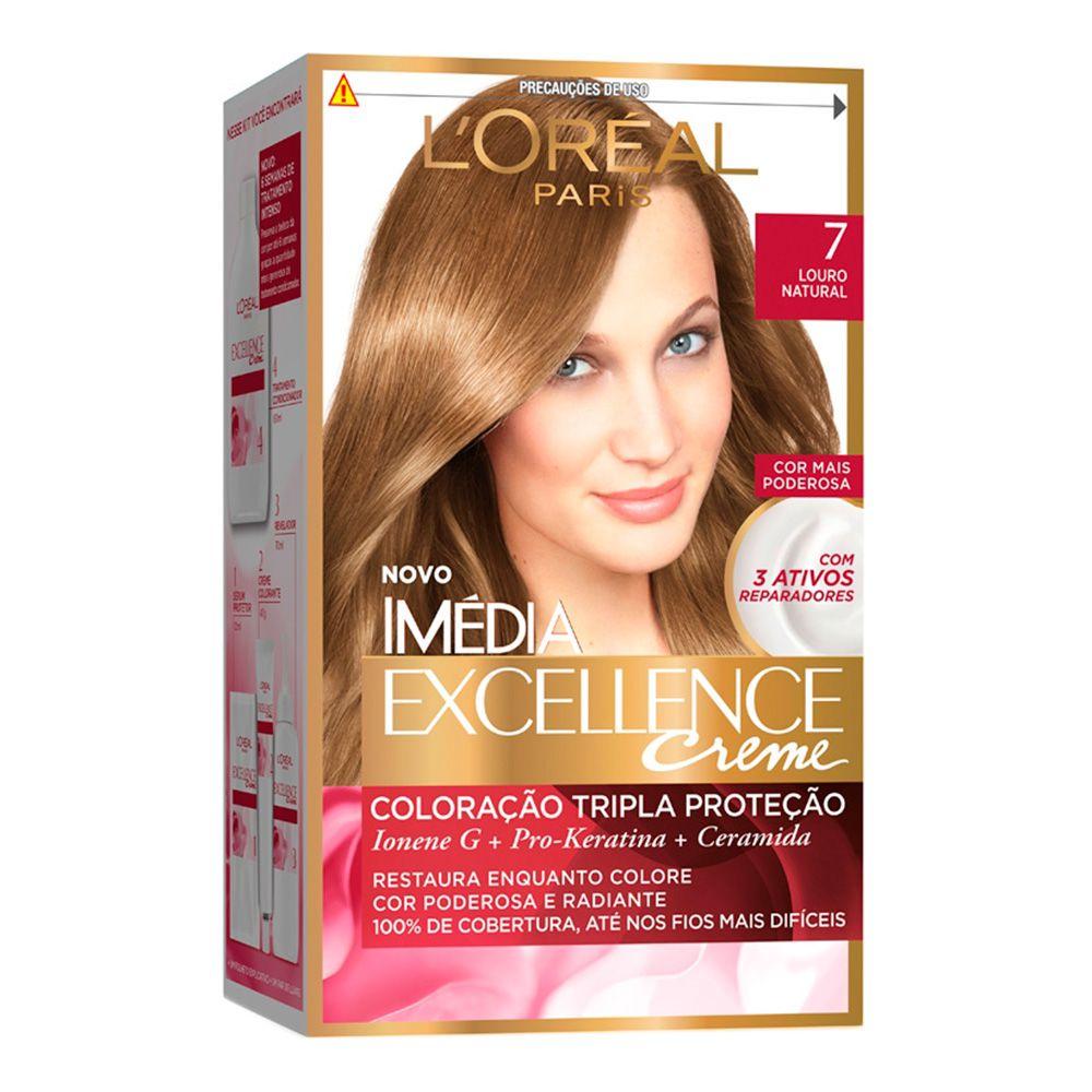 Coloração Imedia Excellence Creme loreal 7 Louro Natural