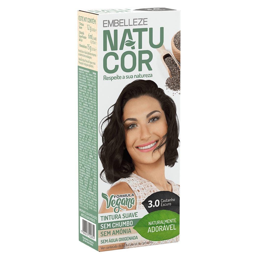 Coloração Natucor Kit 3.0 Cacau (Castanho Escuro)