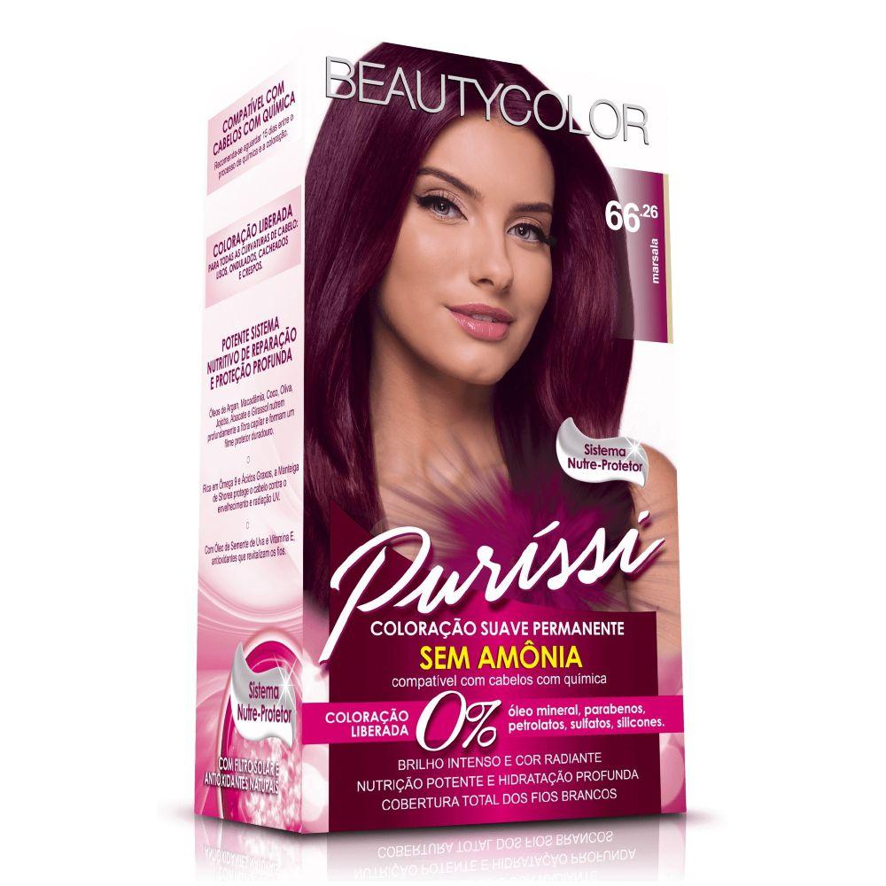 Coloração sem Amônia Beauty Color 66.26 Marsala  - Sofí Cosméticos