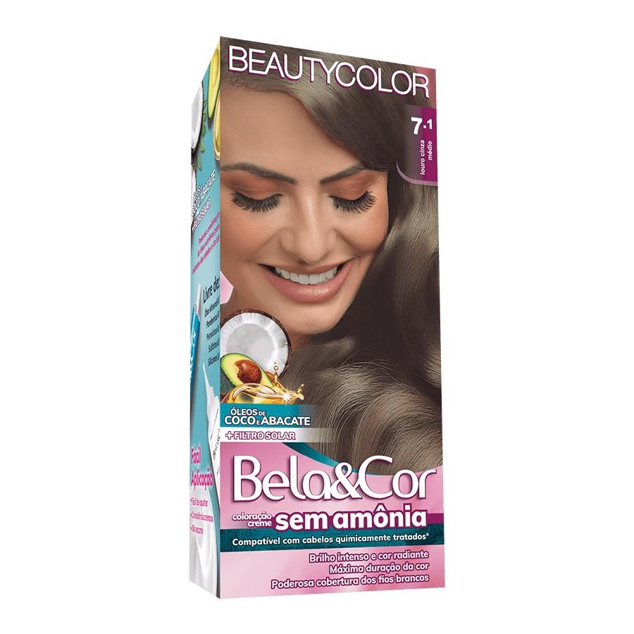 Coloração sem Amônia Bela&Cor 7.1 Louro Cinza Médio