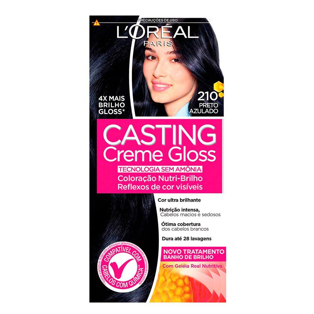 Coloração sem Amônia Casting Creme Gloss 210 Preto Azulado  - Sofí Cosméticos