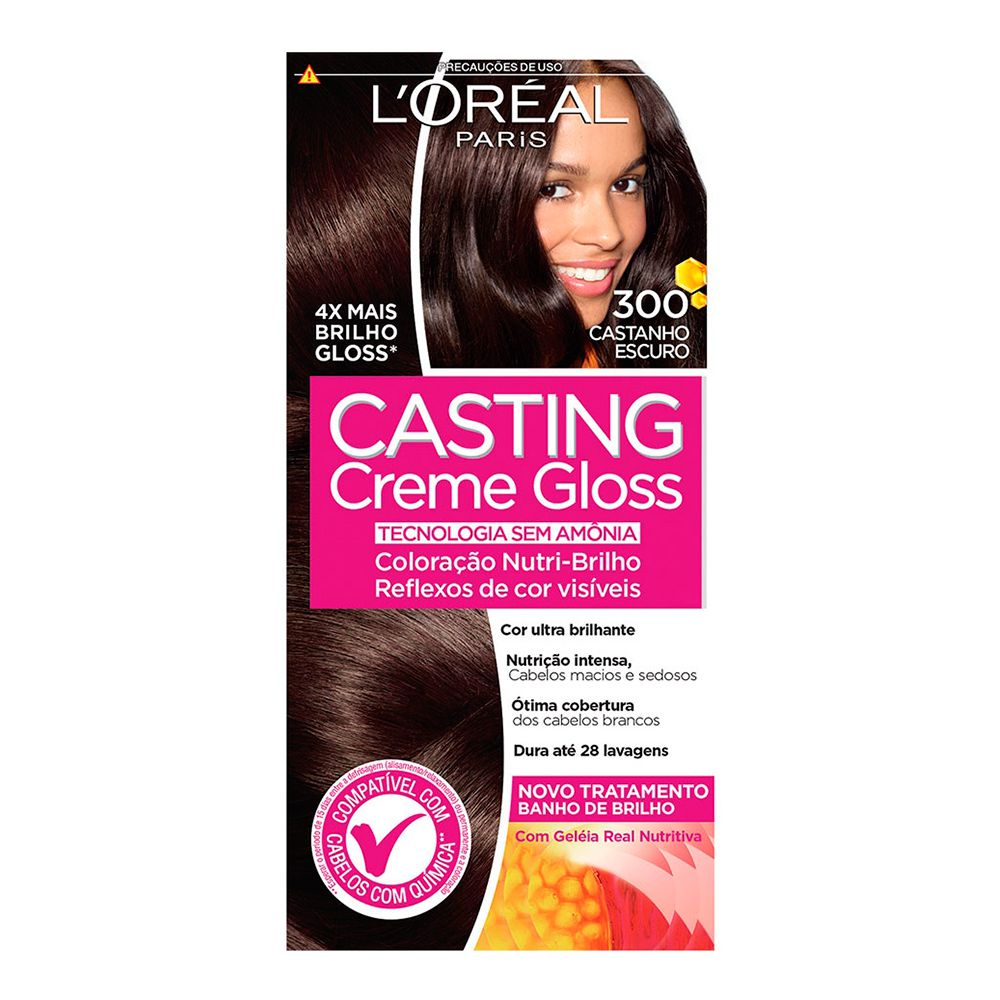 Coloração sem Amônia Casting Creme Gloss 300 Castanho Escuro