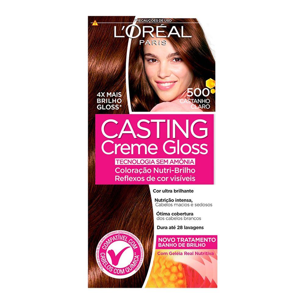 Coloração sem Amônia Casting Creme Gloss 500 Castanho Claro  - Sofí Cosméticos