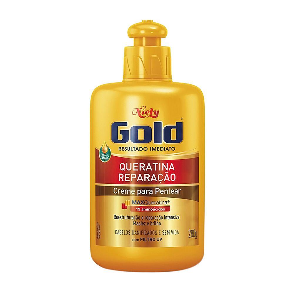 Creme para Pentear Niely Gold Queratina Reparação 280g