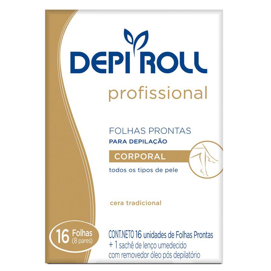 Folhas Prontas Depilação Corporal Depi Roll 16un Tradicional