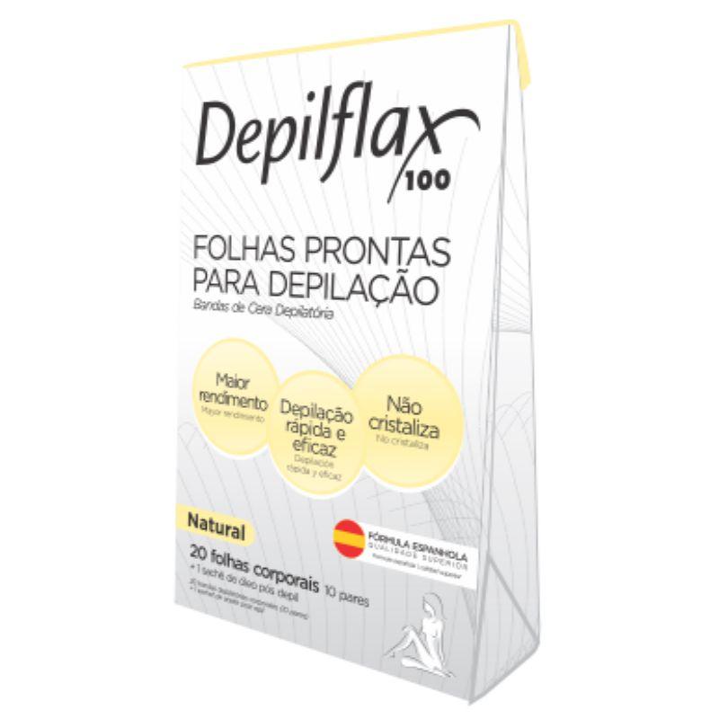 Folhas Prontas Depilação Corporal Depilflax 20un Natural